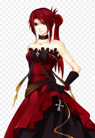Аниме девочка в красном платье