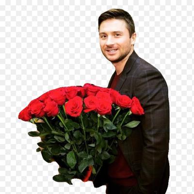 Парень дарит цветы открытка