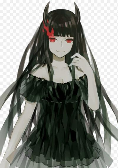 Девушка с черными волосами и красными глазами аниме