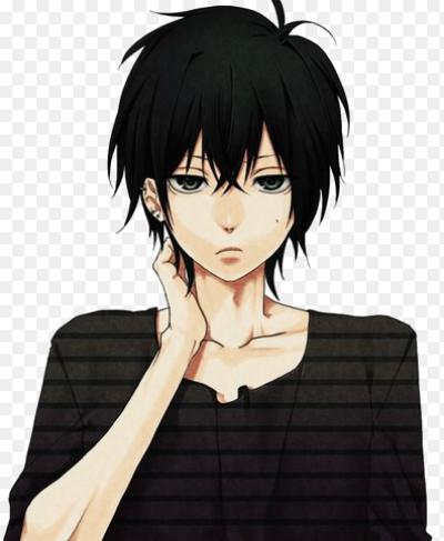 Anime Guy With Black Hair And Glasses