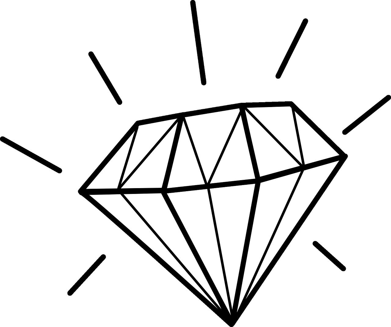 Бриллиант черно белый рисунок