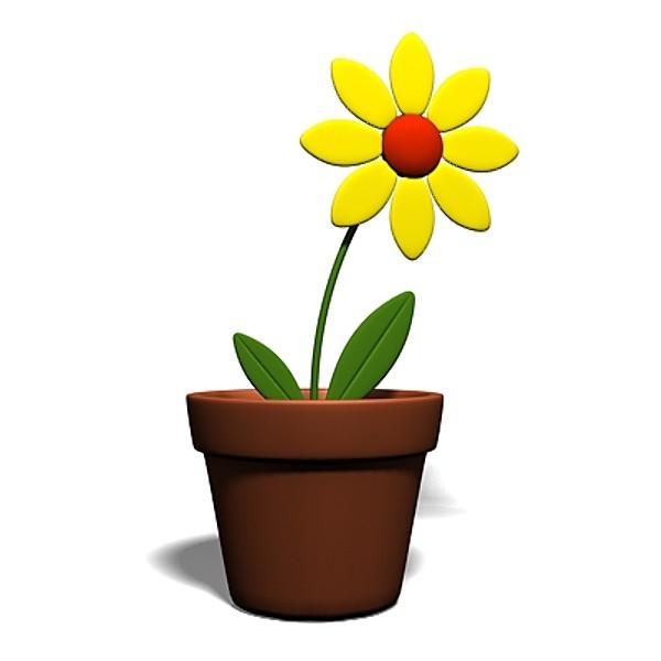 Цветочек в горшке картинка
