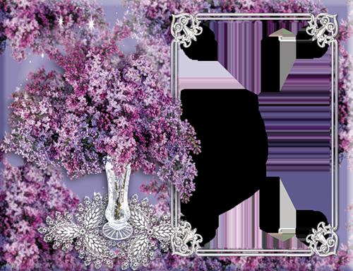 День рождения, рамка для открытки с цветами сирени