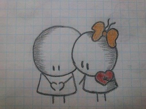 Смешные рисунки карандашом для срисовки очень легкие и красивые про любовь