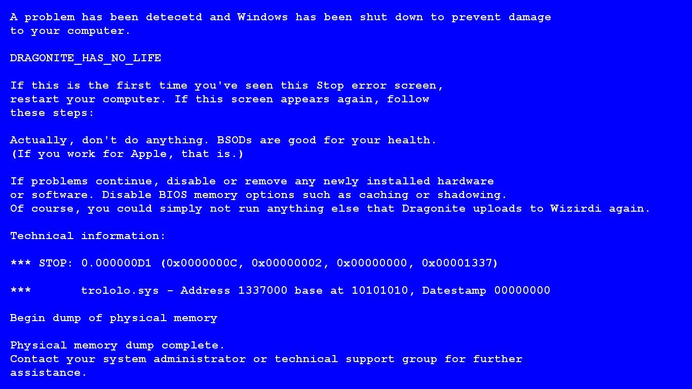 синий экран смерти при просмотра видео меня
