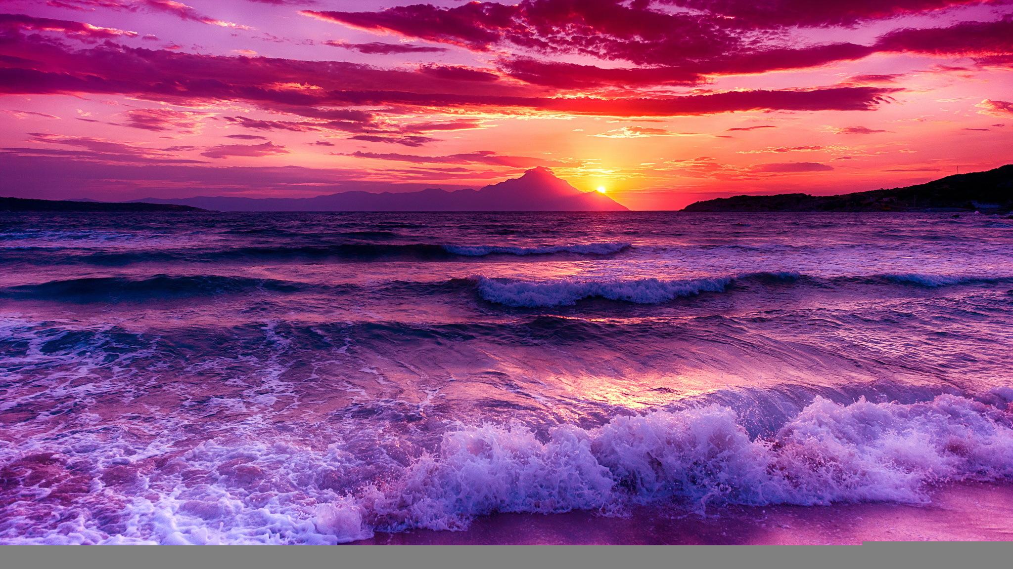 розовый закат, море, горы  № 3110089 без смс