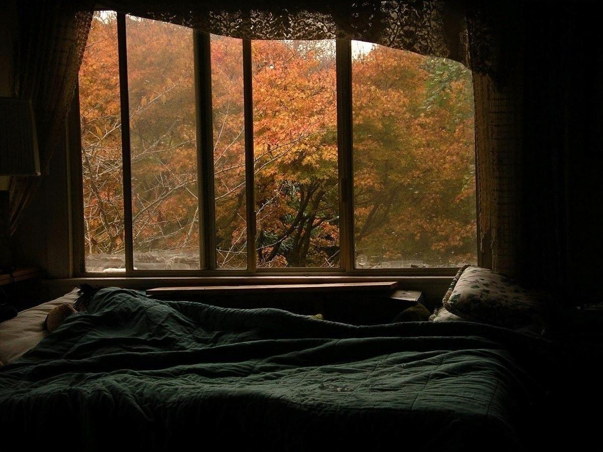 картинка кровати возле окна с дождем тема зимняя, точечными