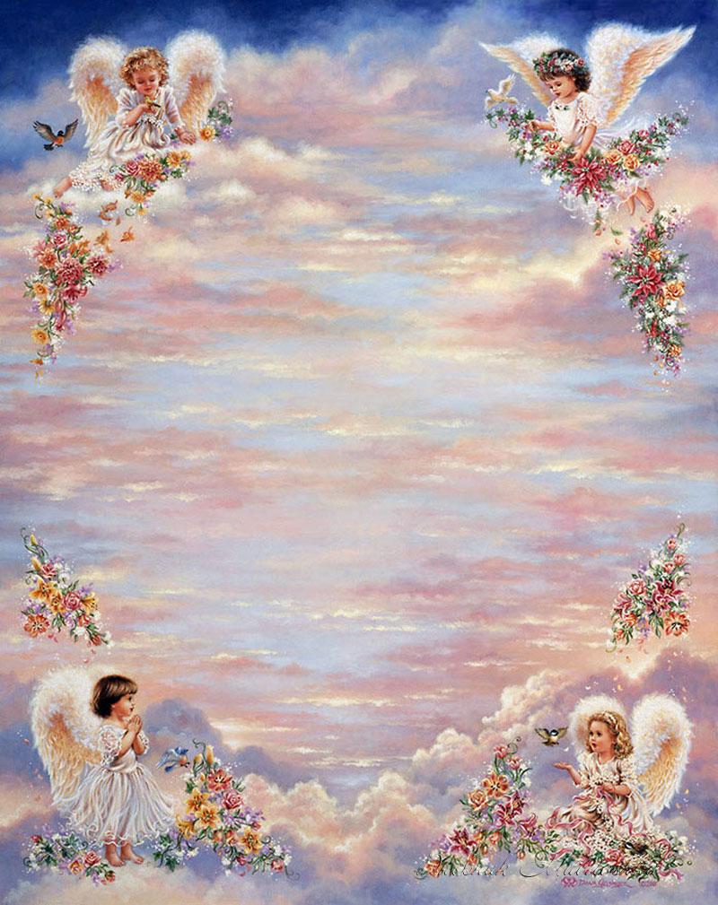 Фоны для открыток с ангелочками