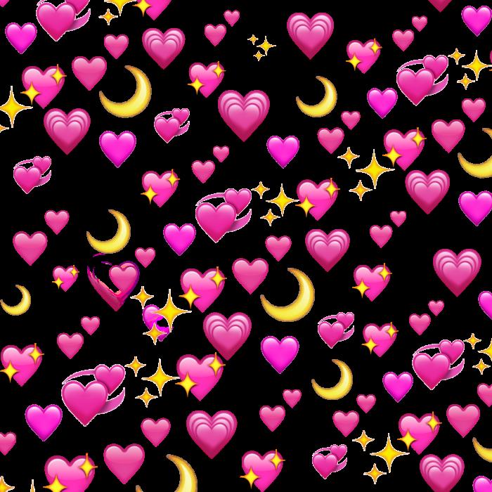 Картинка много сердечек эмодзи с прозрачным фоном